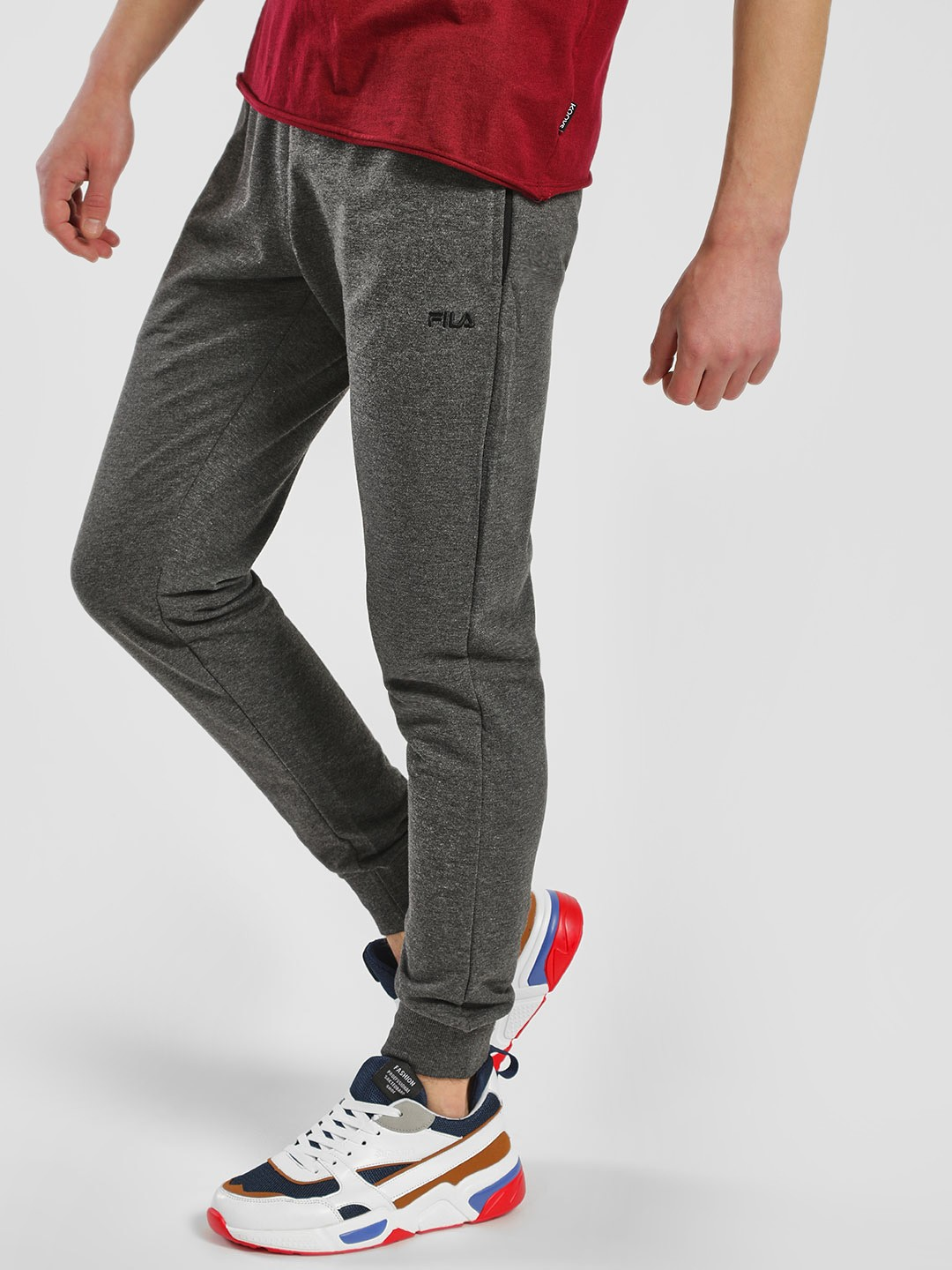 Fila Grey Ribbed Casual Joggers 1