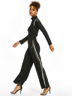 Origami Lily Chain Fringe Side Flared Trousers