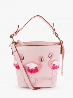 Origami Lily Flamingo Patch Bucket Sling Bag