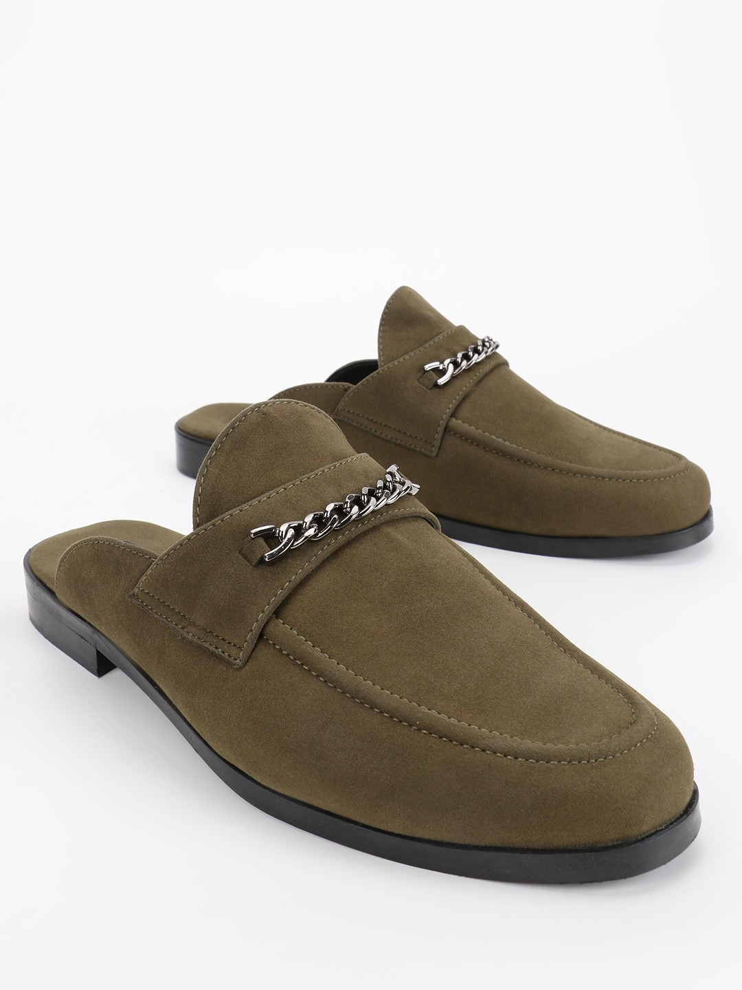 KOOVS Olive Chain Detail Suede Loafers 1