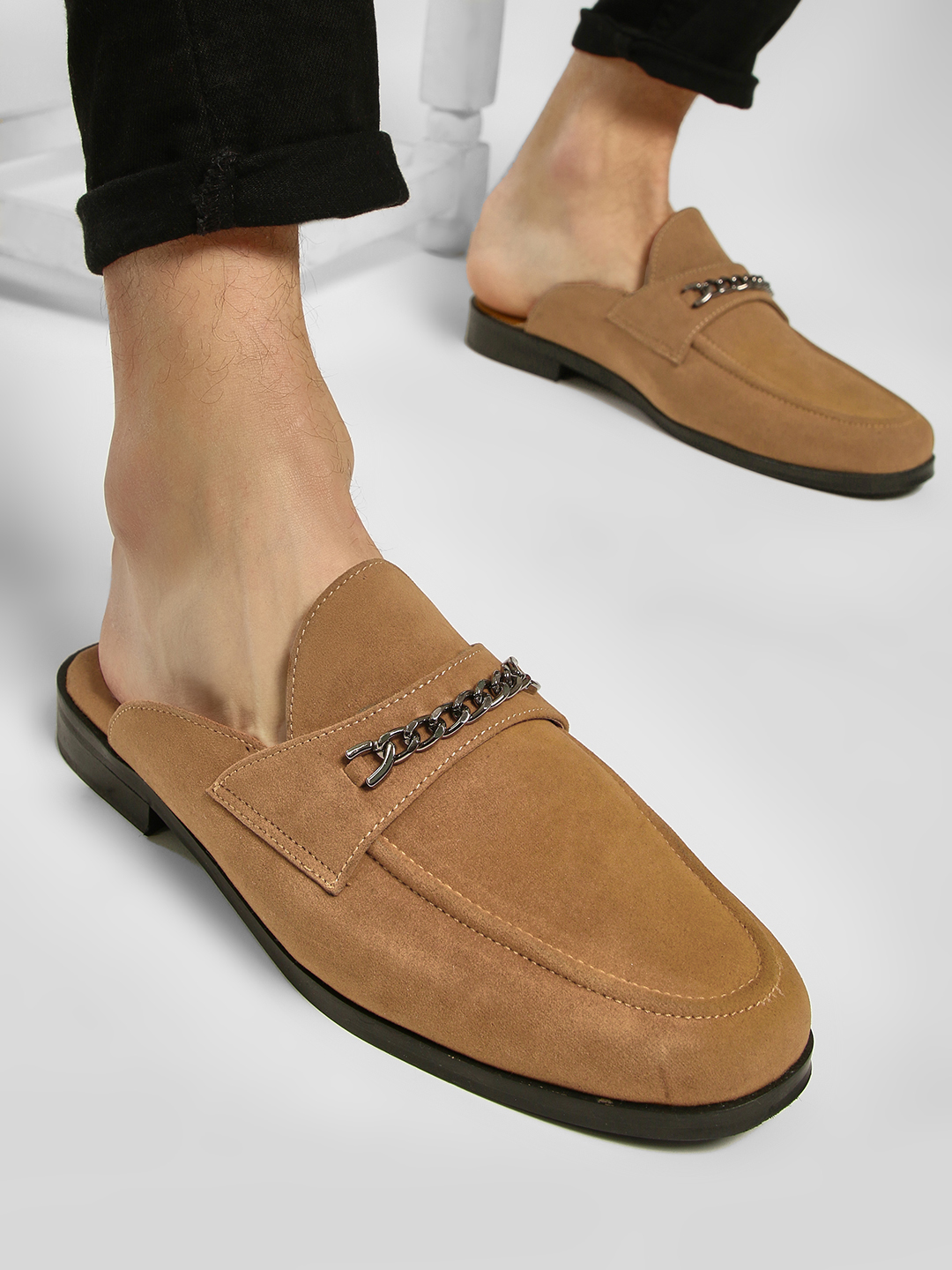 KOOVS Tan Chain Detail Suede Loafers 1