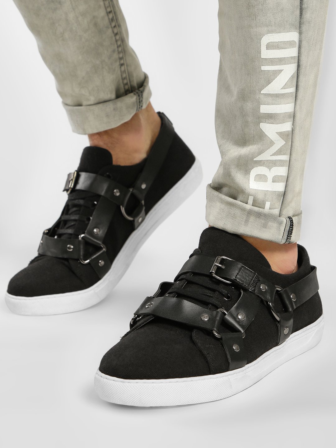 KOOVS Black Pin And Buckle Detail Sneakers 1