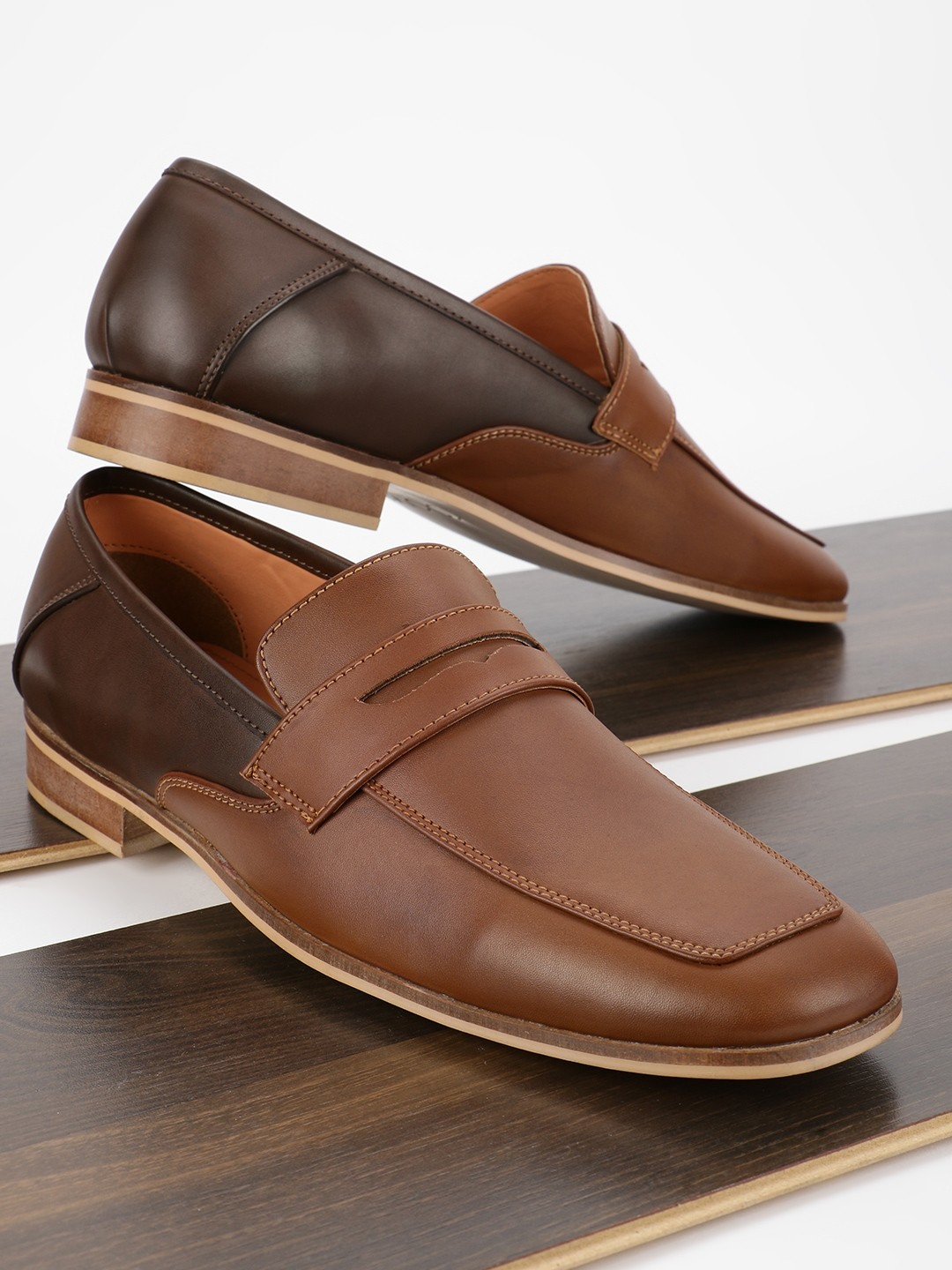 KOOVS Brown Contrast Penny Loafers 1