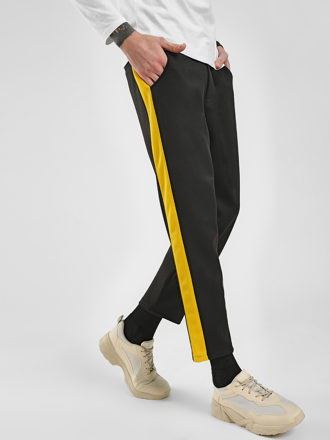 KOOVS Black Side Stripe Scuba Slim Trousers 1
