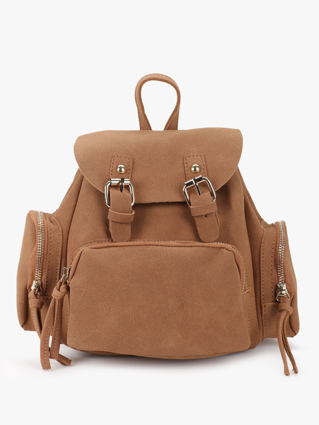 Origami Lily Tan Suede Backpack 1