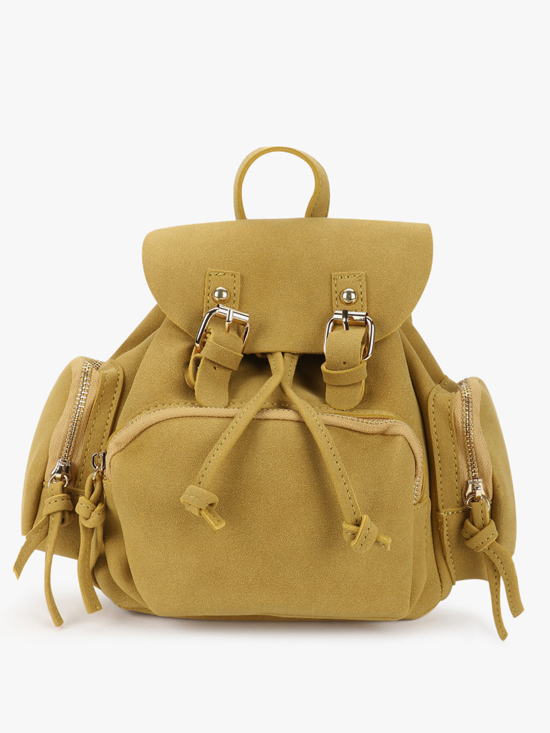 Origami Lily Yellow Suede Backpack 1