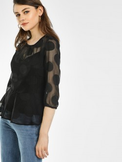 Vero Moda Sheer Polka Dot Peplum Top