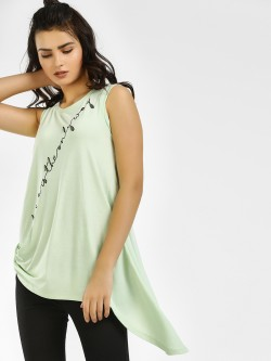 Vero Moda Slogan Embellished Asymmetric Sleeveless T-Shirt