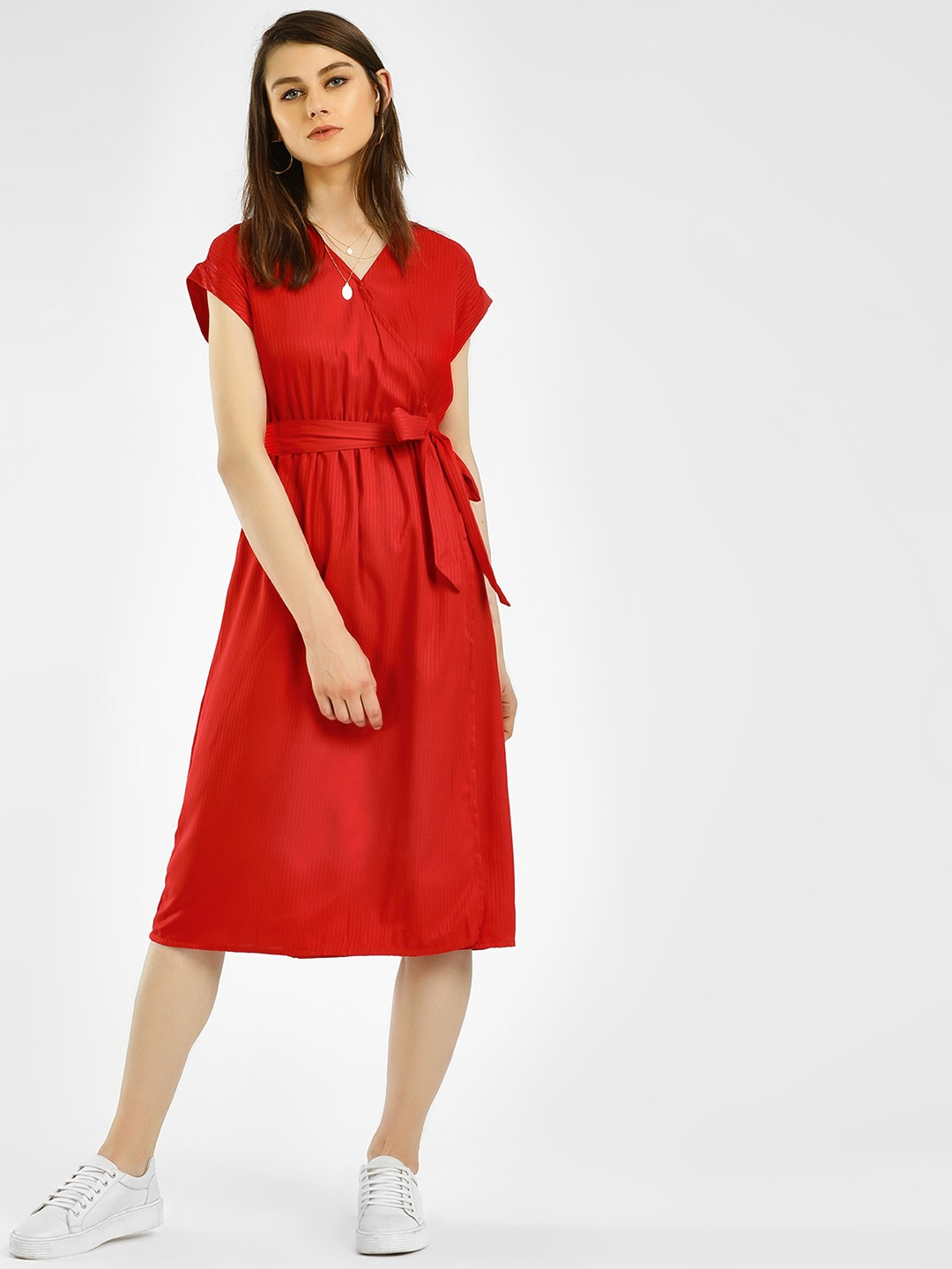 Vero Moda Red Basic Wrap Midi Dress 1