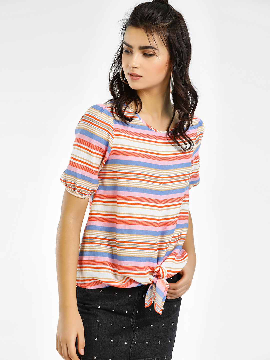 Vero Moda Multi Striped Front Knot Top 1