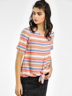 Vero Moda Striped Front Knot Top