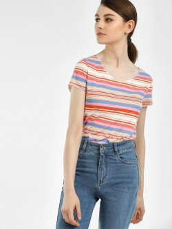 Vero Moda Horizontal Striped V-Neck T-Shirt