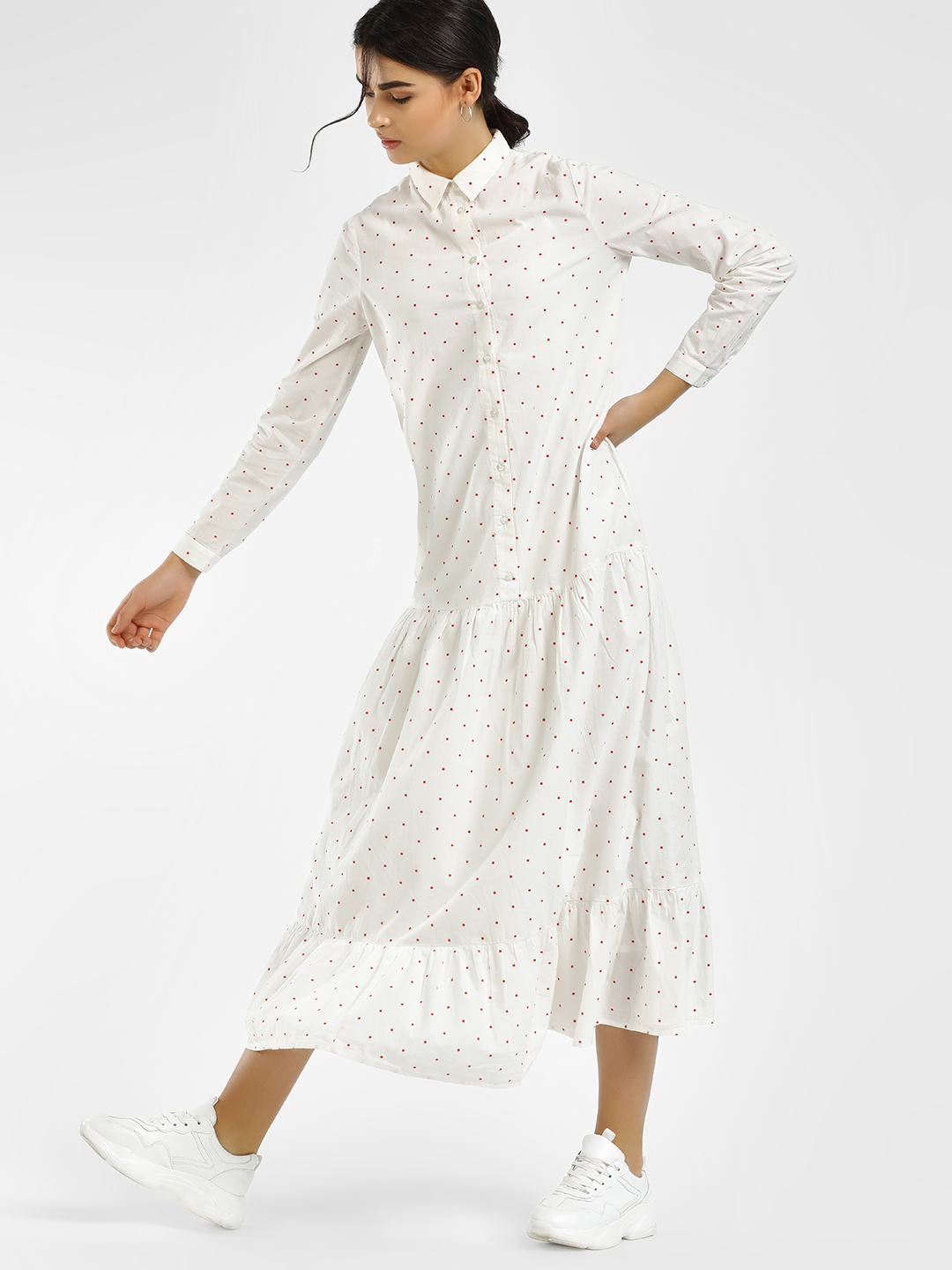 Vero Moda White Polka Dot Dobby Shirt Dress 1