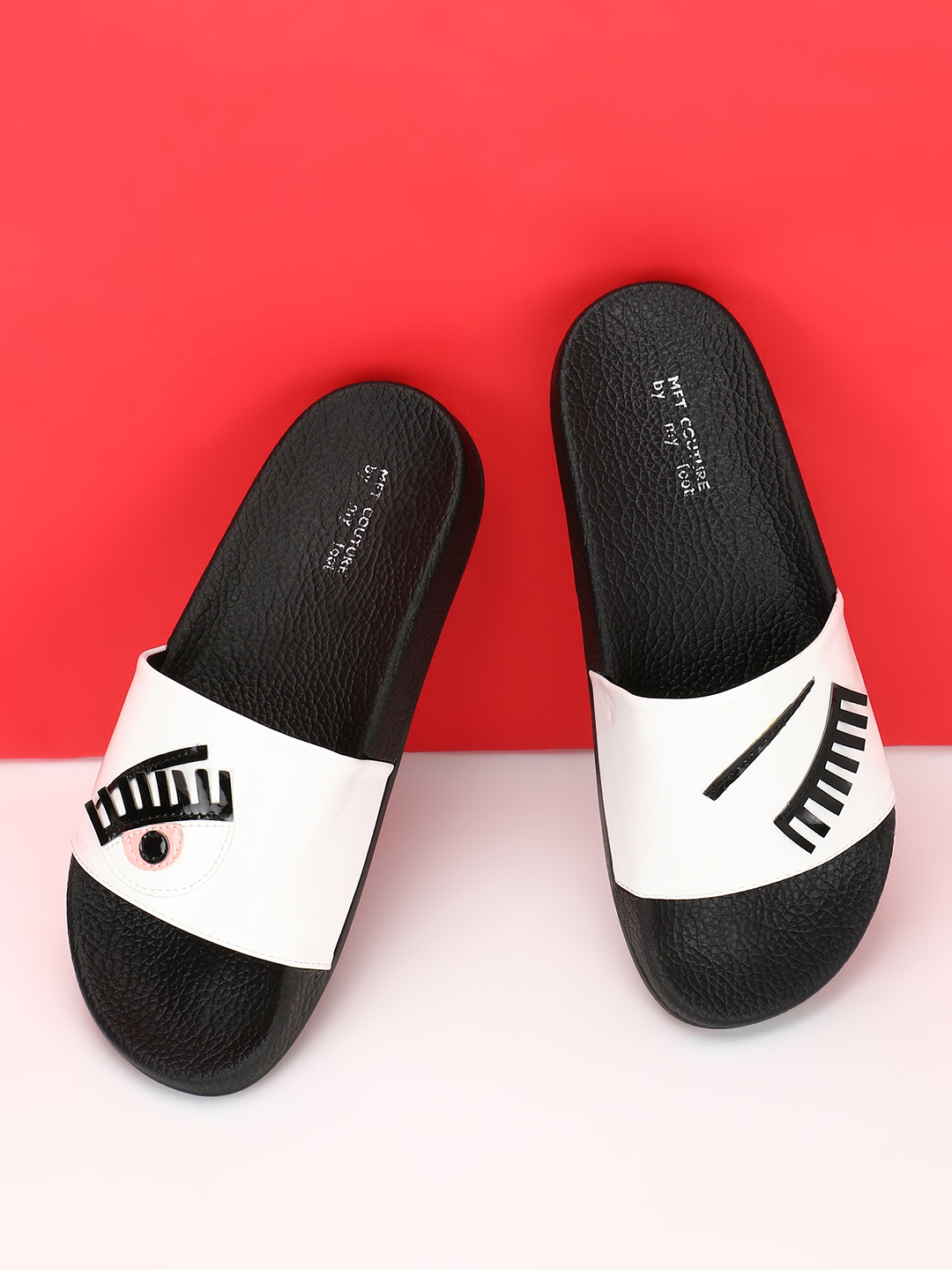 My Foot Couture White Wink Eye Pool Slides 1