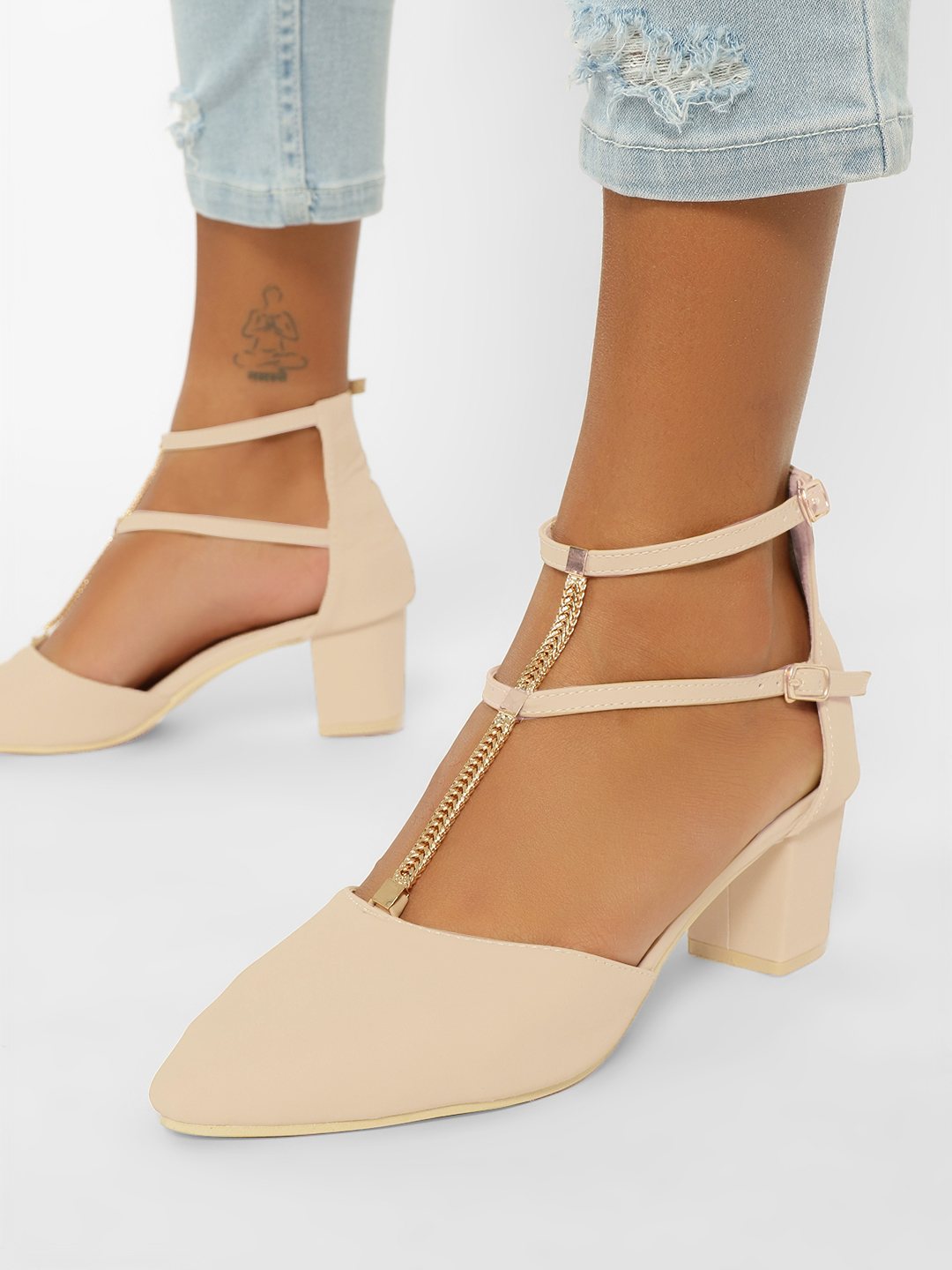 My Foot Couture Cream Chain T-Strap Block Heel Pumps 1