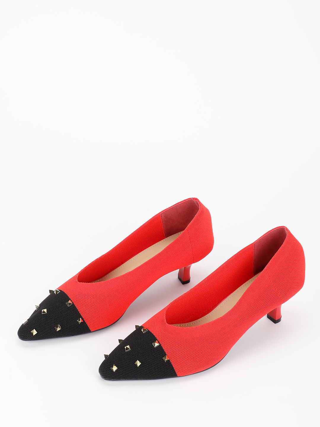 My Foot Couture Red Colour Block Sock Studded Pumps 1