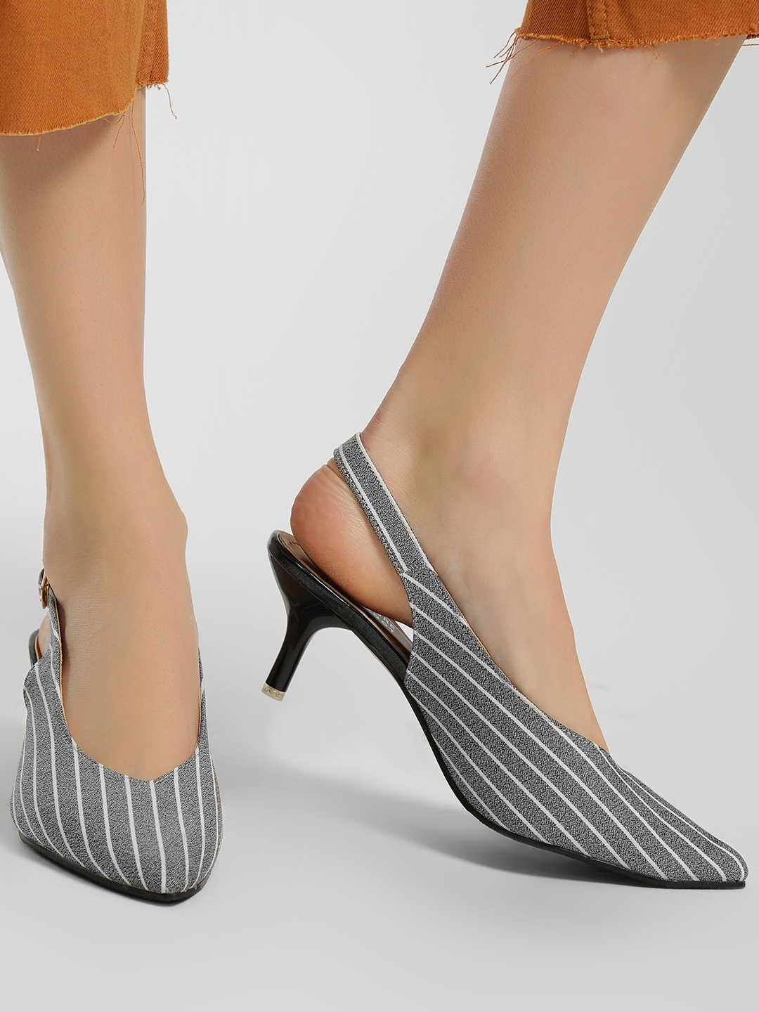 My Foot Couture Grey Contrast Stripe Slingback Heeled Pumps 1