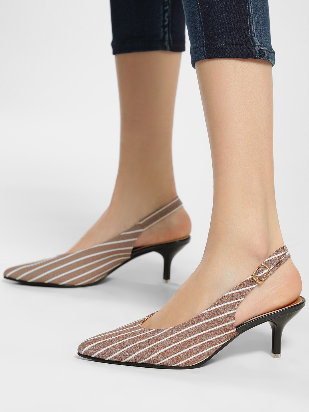 My Foot Couture Pink Contrast Stripe Slingback Heeled Pumps 1