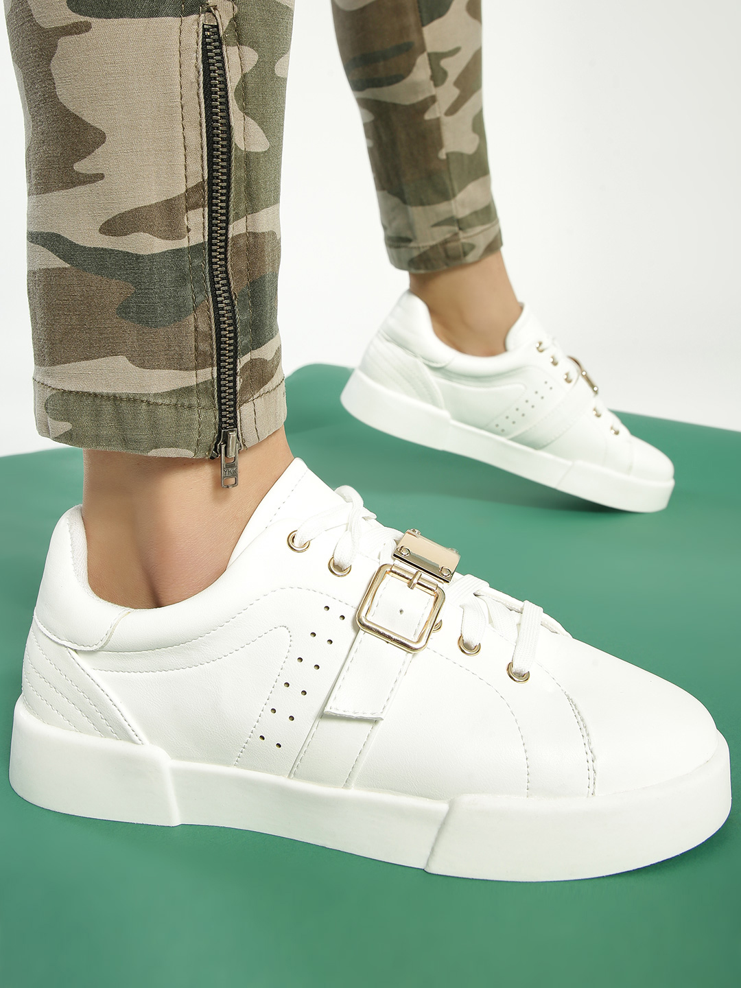 My Foot Couture White Buckle Detail Lace Up Sneakers 1