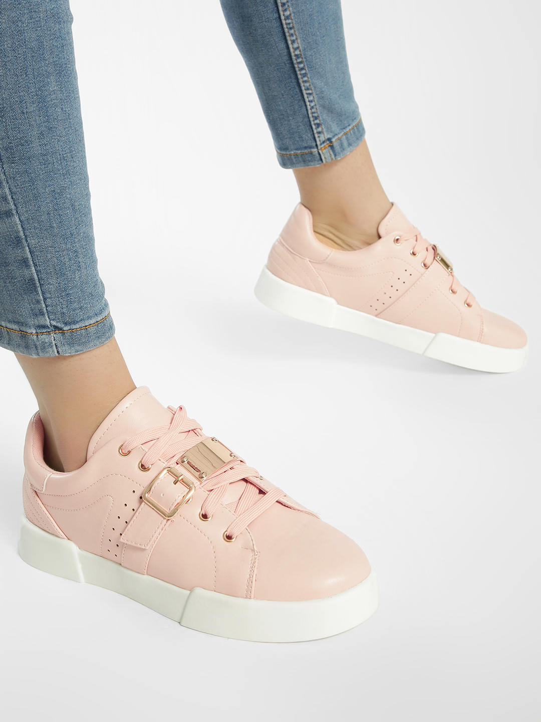 My Foot Couture Blush pink Buckle Detail Lace Up Sneakers 1