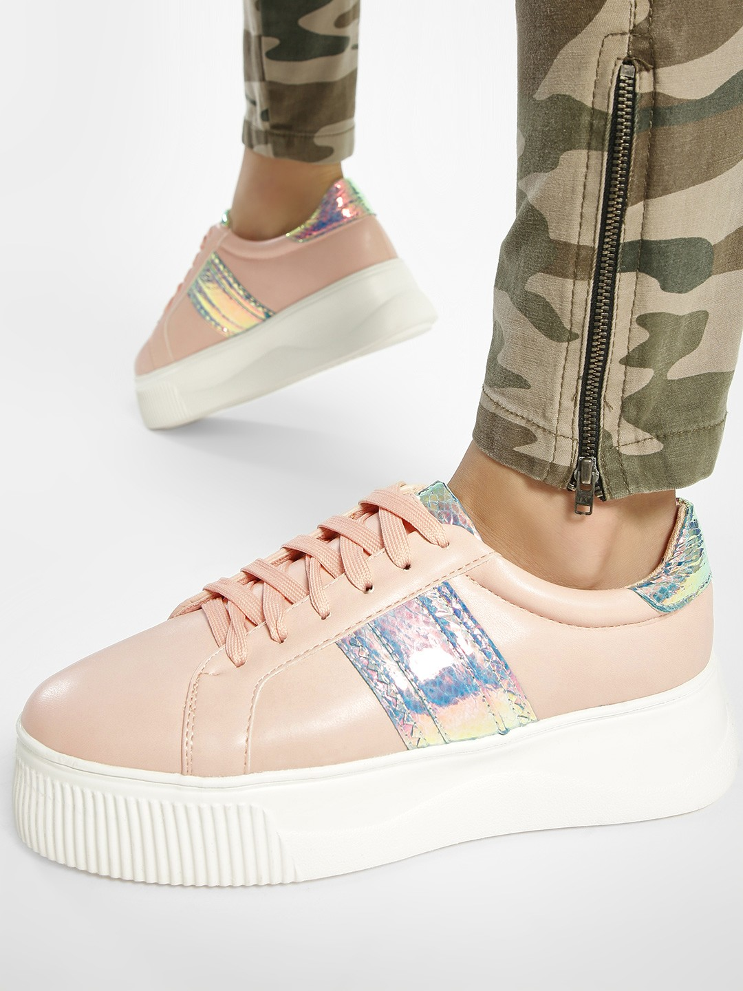 My Foot Couture Blush pink Holographic Panel Sneakers 1