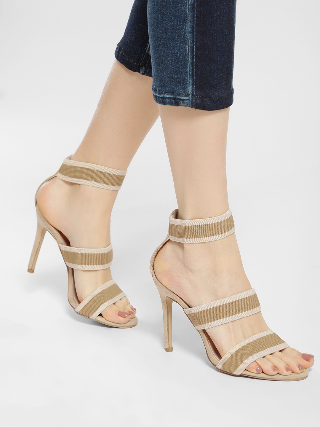 My Foot Couture Nude/White Suede Elasticated Strap Heeled Sandals 1