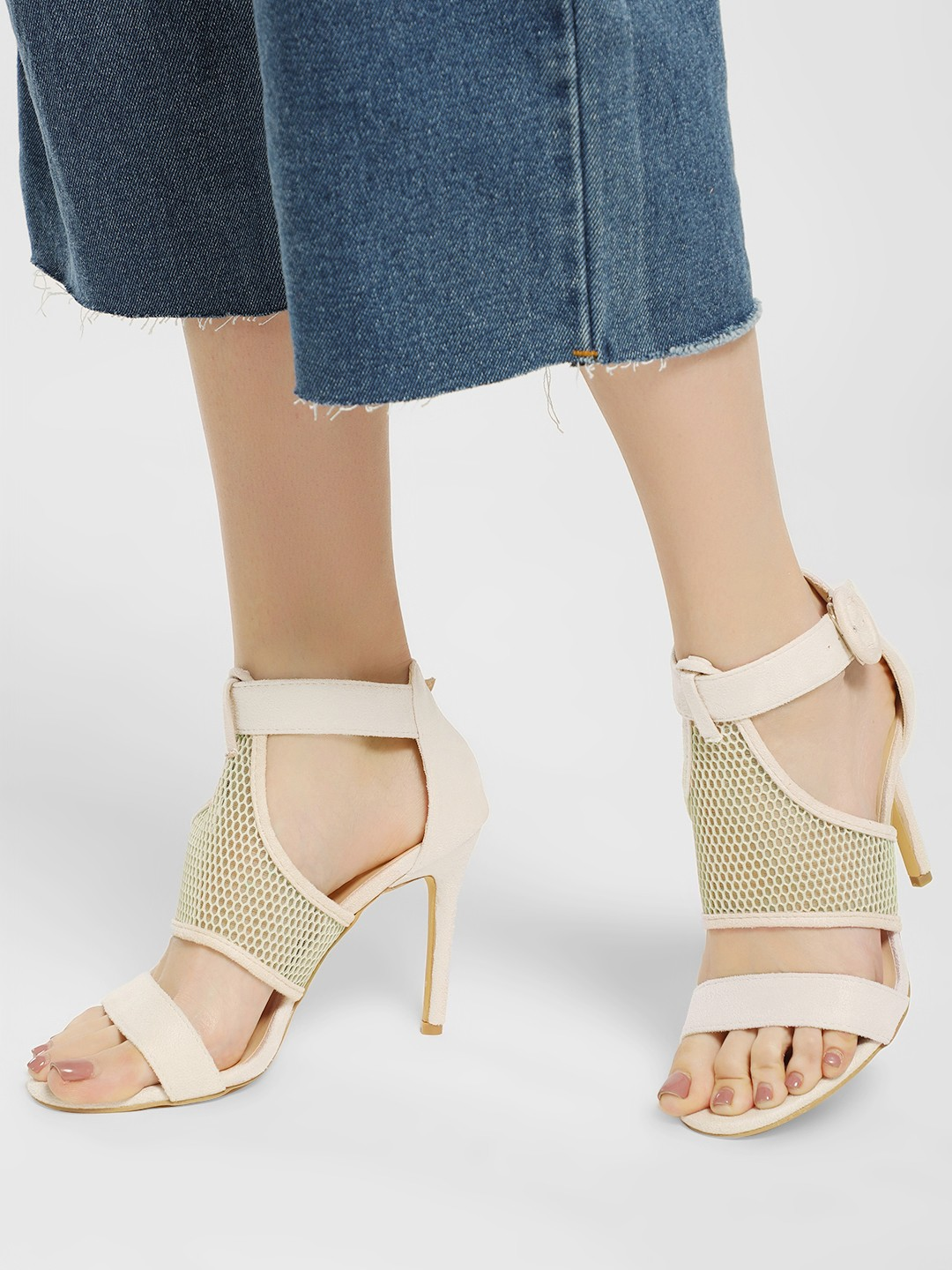 My Foot Couture Nude Net Detail Heeled Sandals 1