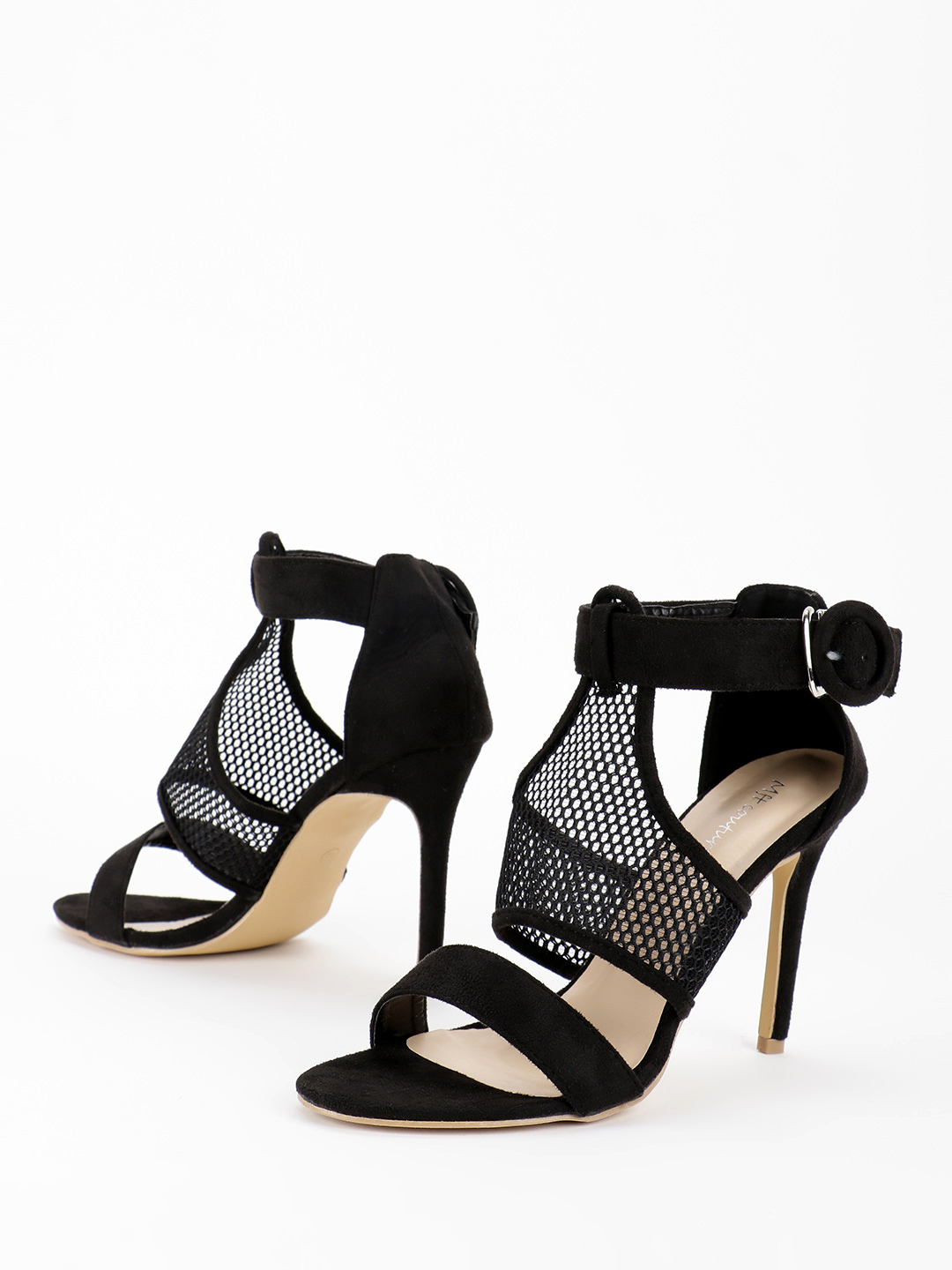 My Foot Couture Black Net Detail Heeled Sandals 1
