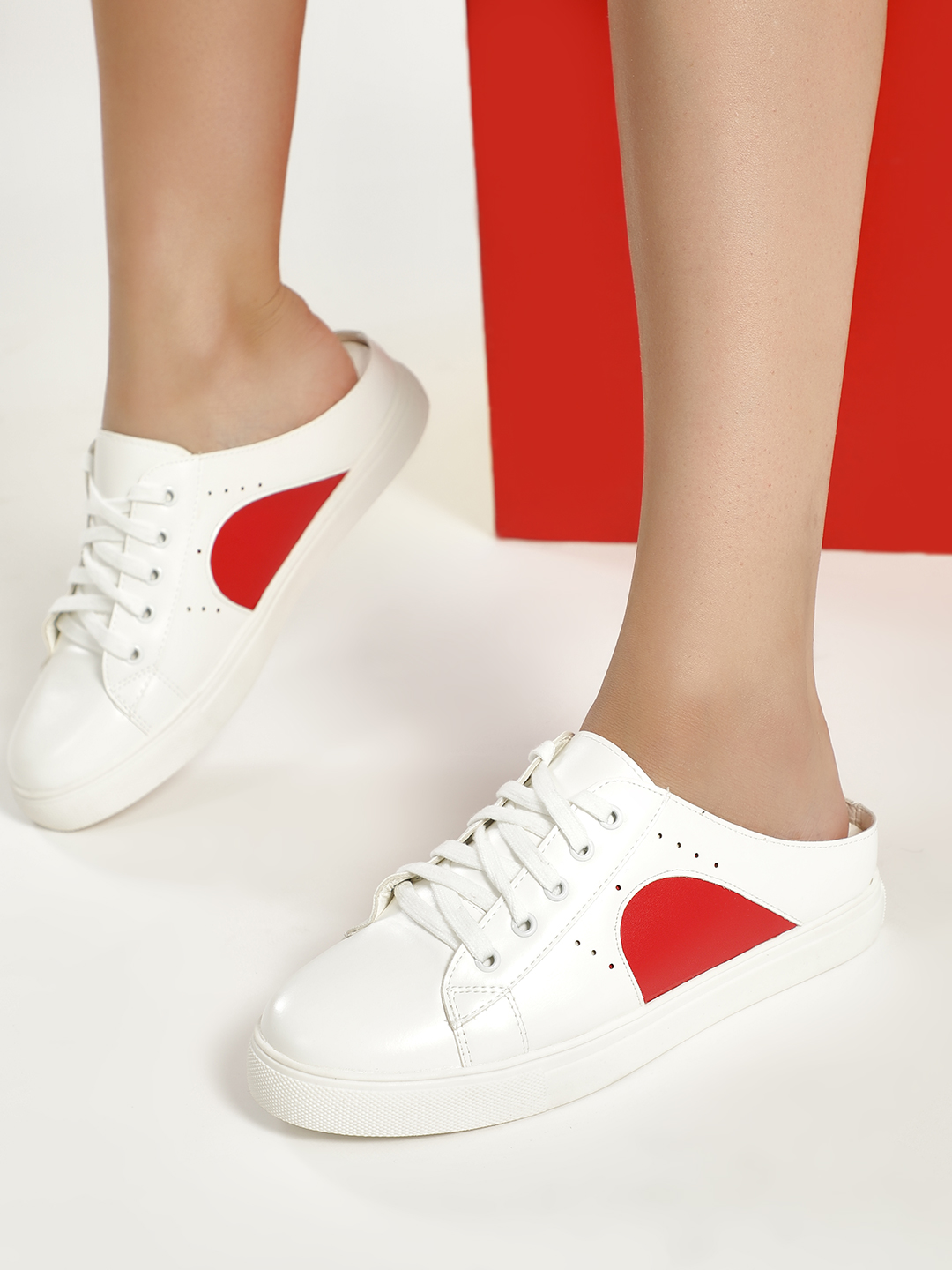 My Foot Couture White/Red Contrast Panel Slide Sneakers 1