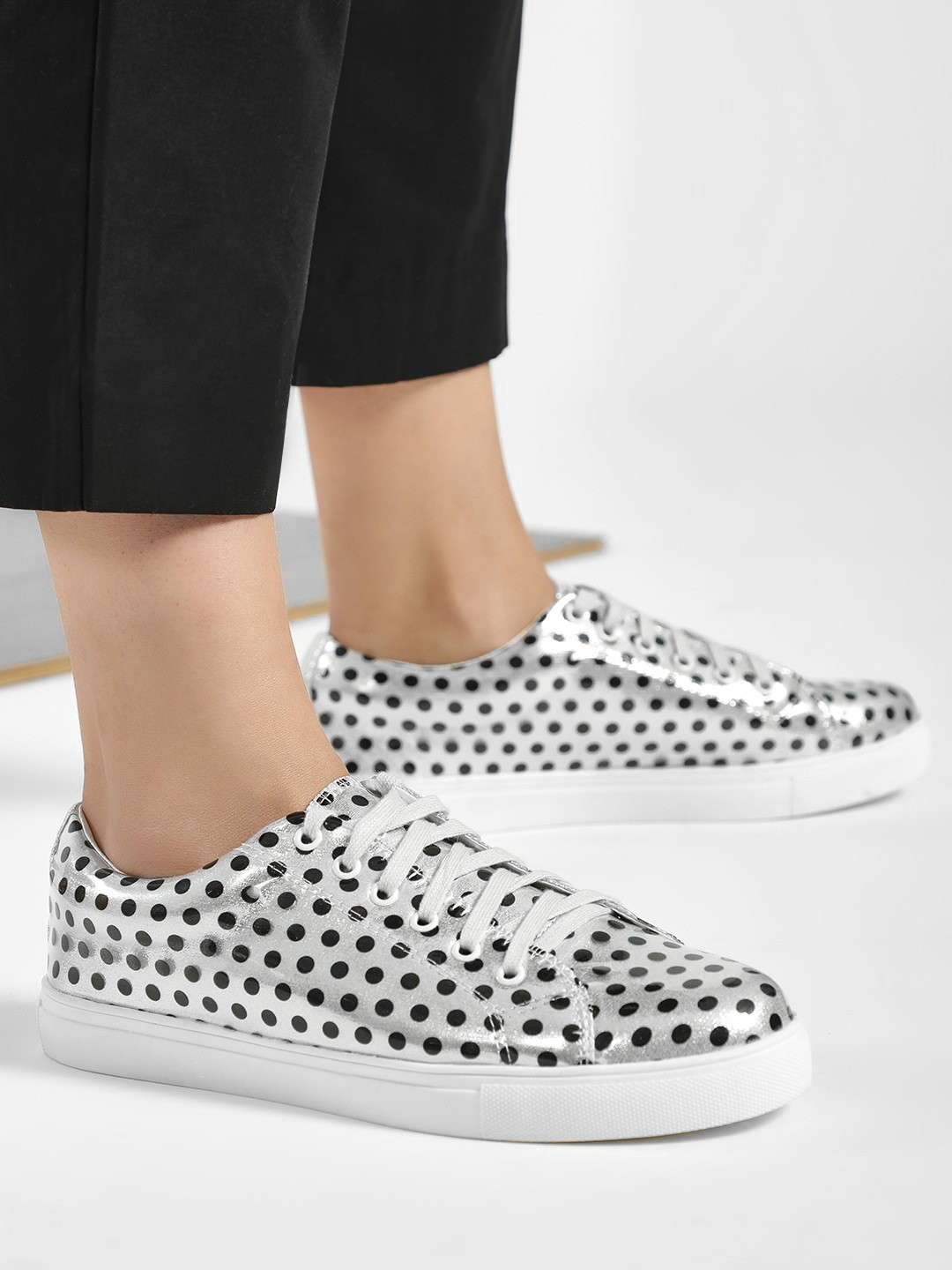 My Foot Couture Silver Polka Dot Print Glossy Sneakers 1