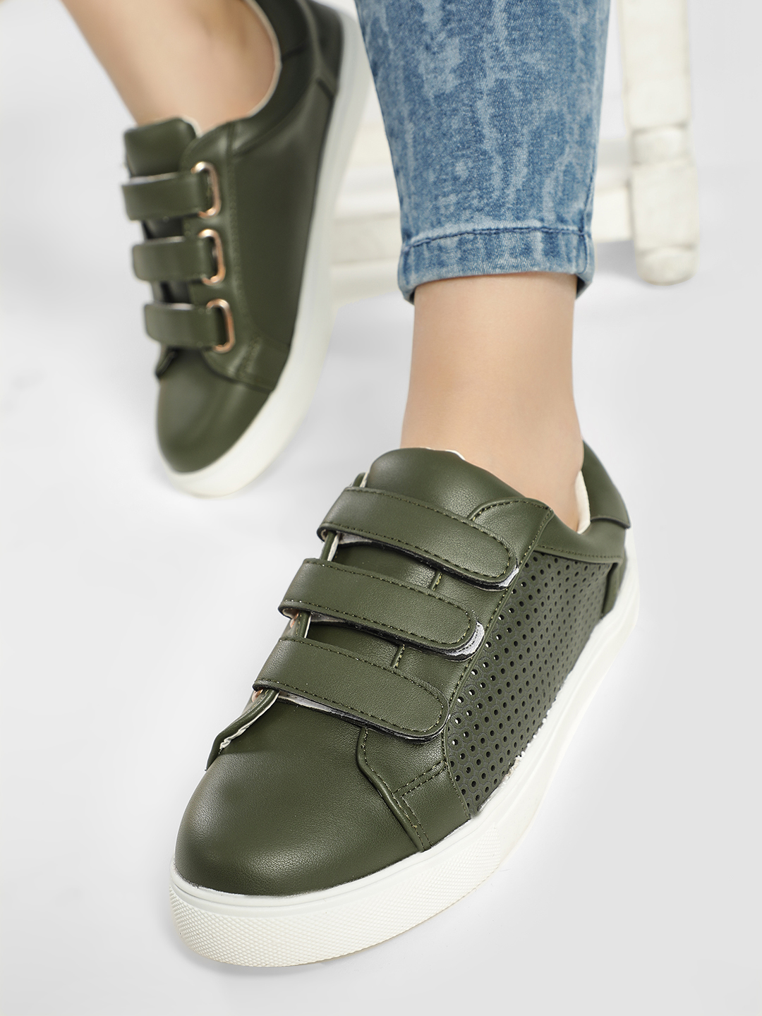 My Foot Couture Green Perforated Panel Triple Strap Sneakers 1