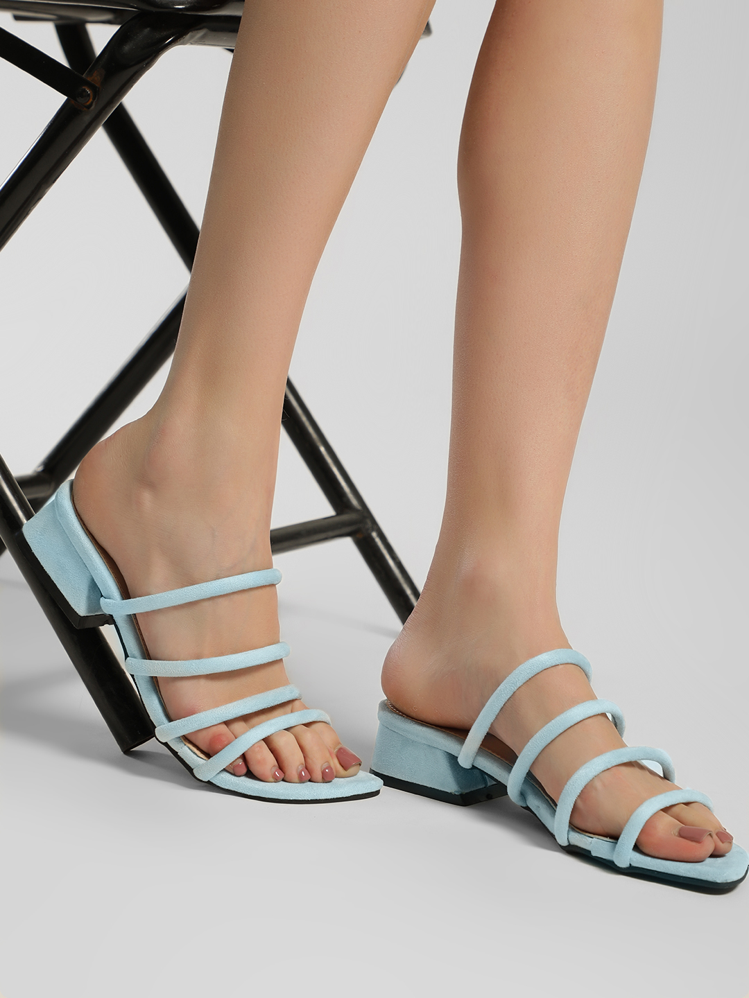 My Foot Couture Blue Suede Multi-Strap Heeled Sandals 1