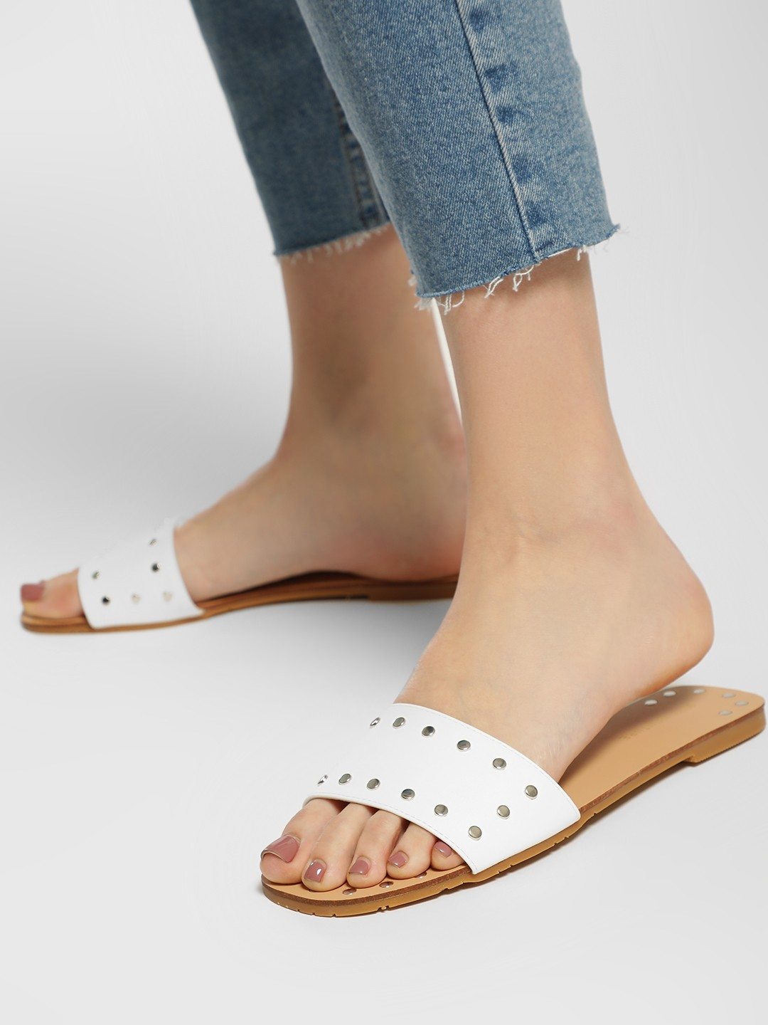 My Foot Couture White Studded Strap Flat Sandals 1