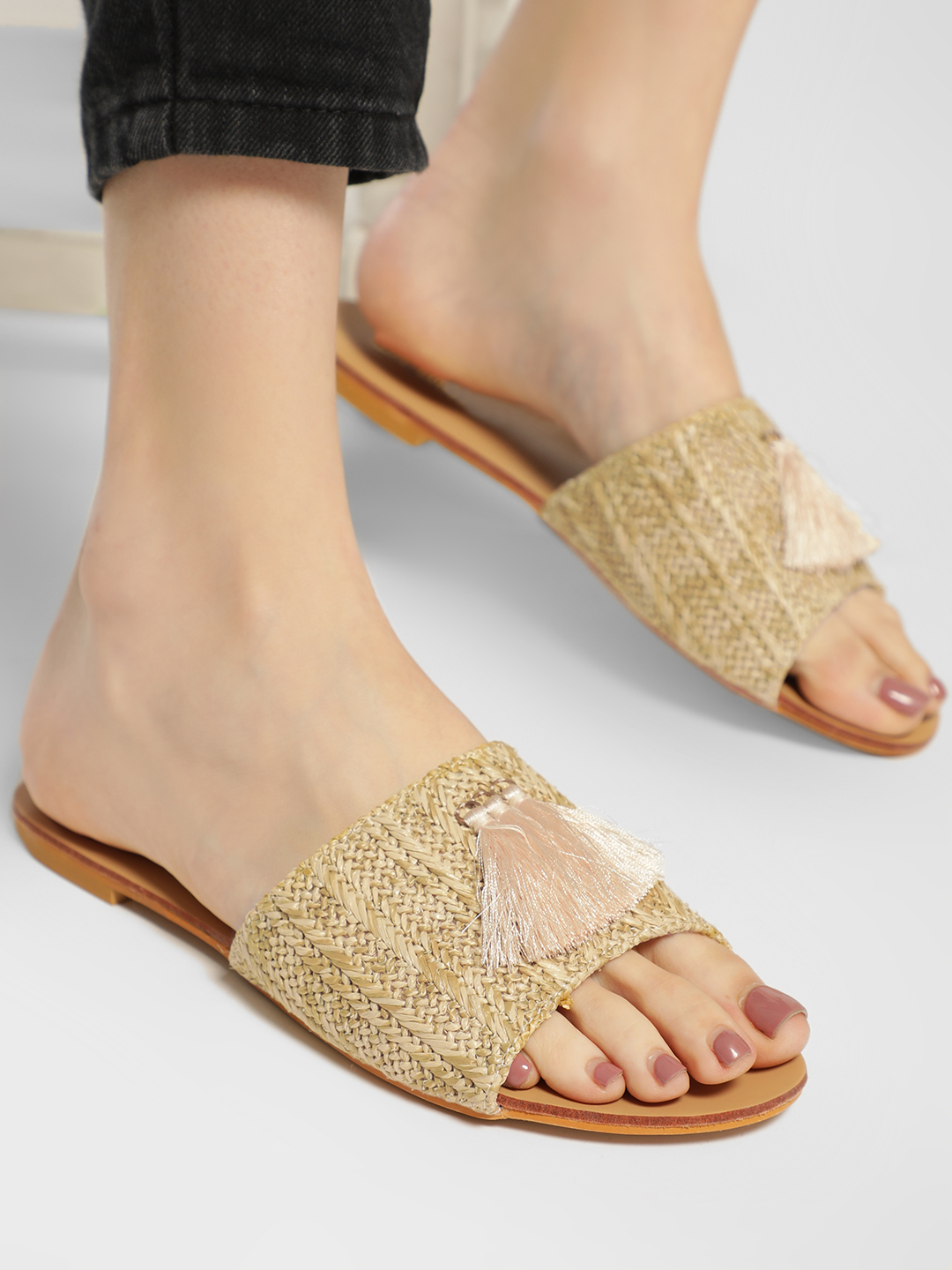 My Foot Couture Beige Jute Strap Tassel Detail Slides 1