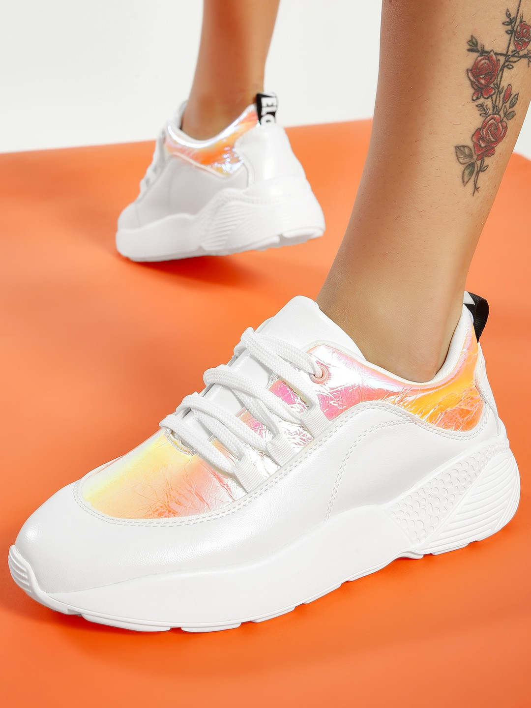 My Foot Couture White Holographic Panel Chunky Sole Trainers 1