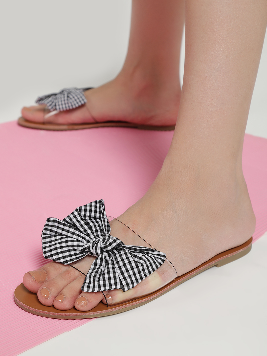 My Foot Couture Black Gingham Check Bow Clear Slides 1