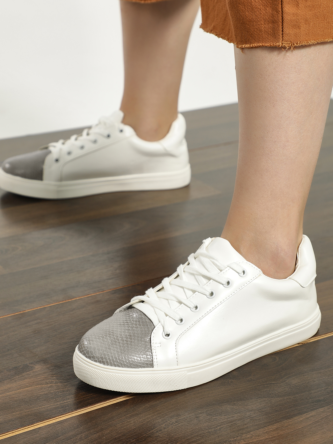 My Foot Couture white/grey Snake Print Toe Sneakers 1