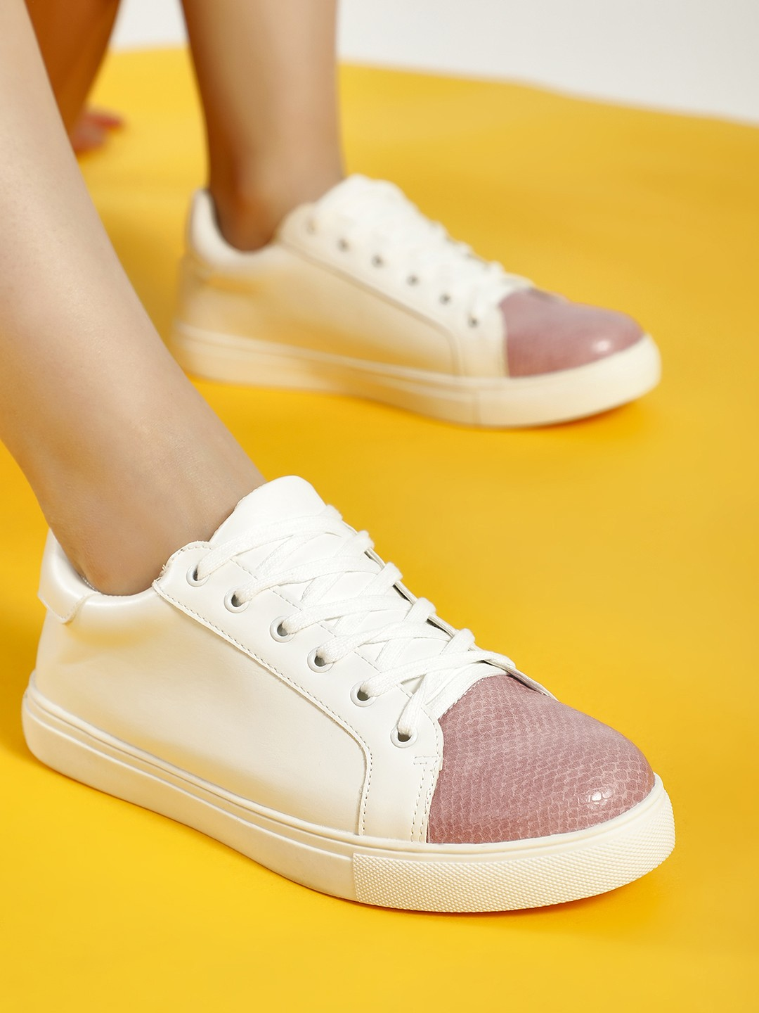 My Foot Couture White/Pink Snake Print Toe Sneakers 1