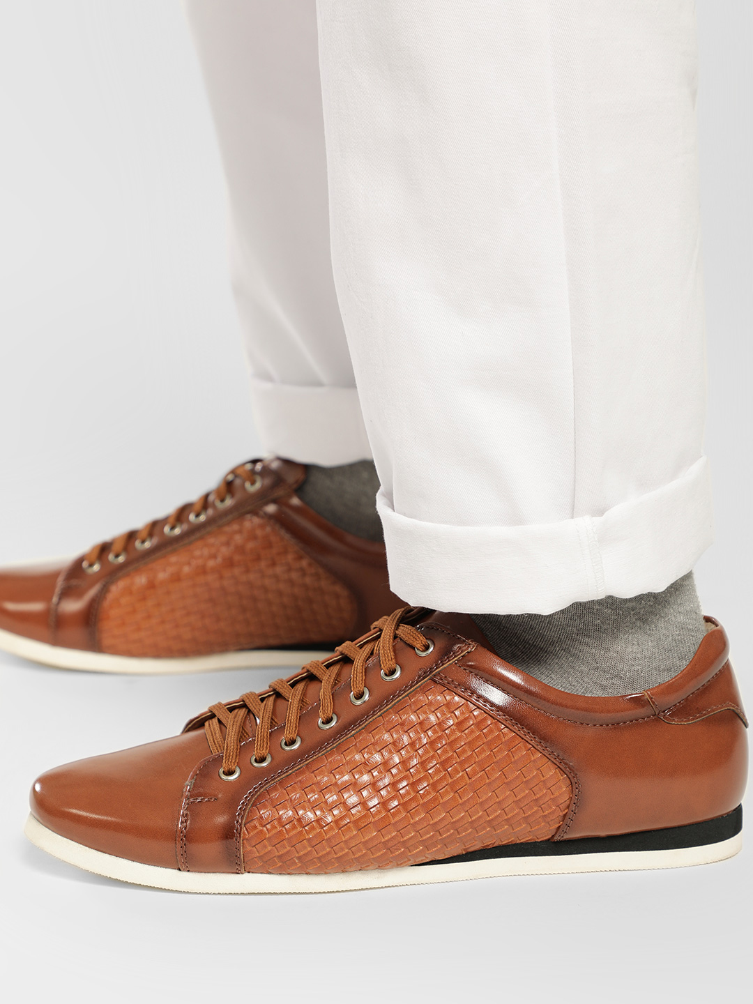 Bolt Of The Good Stuff Brown Weave Panel Sneakers 1
