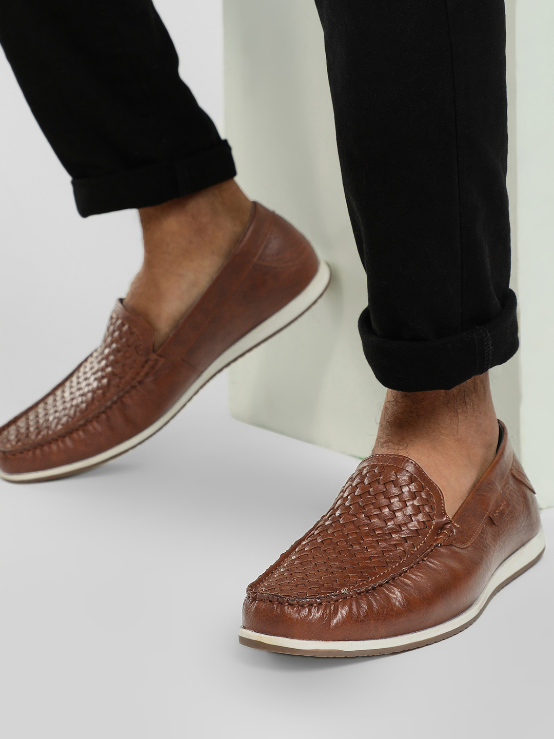 Rodolfo Darrell Brown Woven Vamp Moccasins 1
