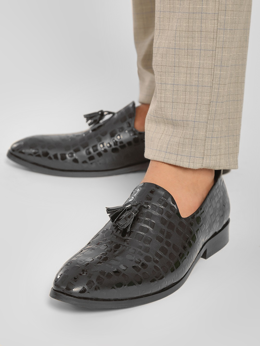 Rodolfo Darrell Black Crocskin Tasseled Loafers 1