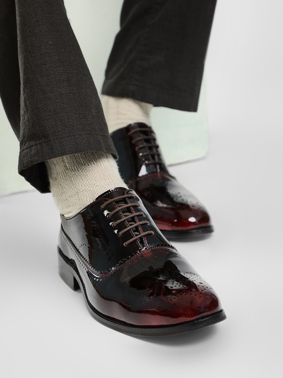 Rodolfo Darrell Brown Brogue Punched Oxford Shoes 1