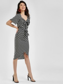 Closet Drama Double Knot Stripe Asymmetric Dress