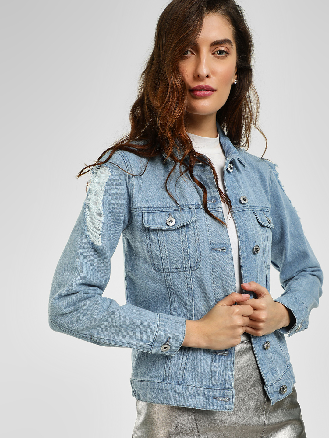 Blue Saint Blue Distressed Washed Denim Jacket 1