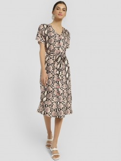Femella Snake Print Button-Down Midi Dress