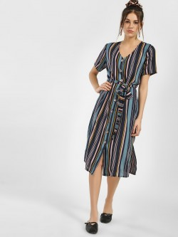 Femella Horn Button Striped Shirt Dress