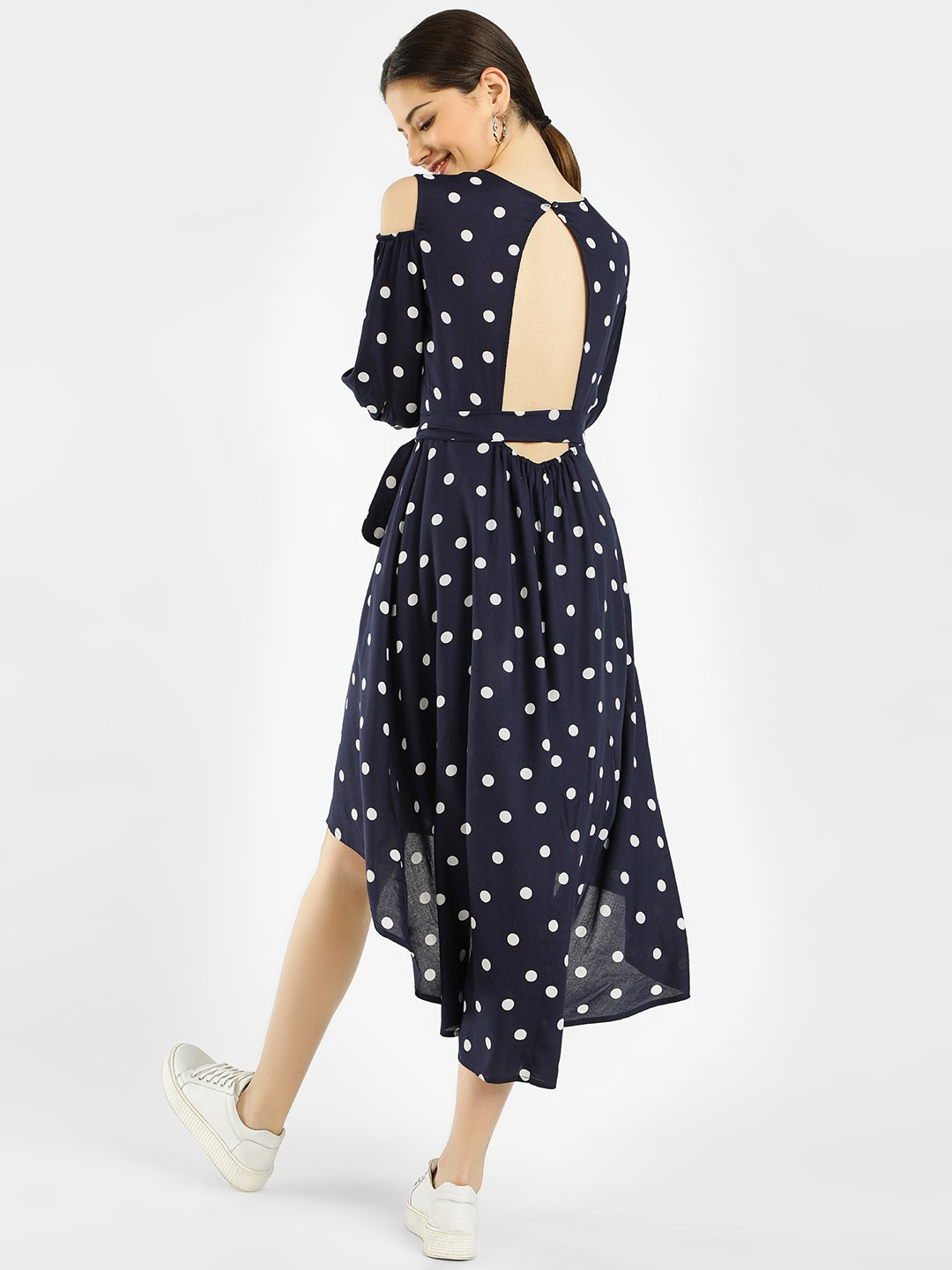 Femella Navy Polka Dot Print Asymmetric Dress 1