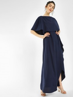 Femella Cape Front Wrap Maxi Dress