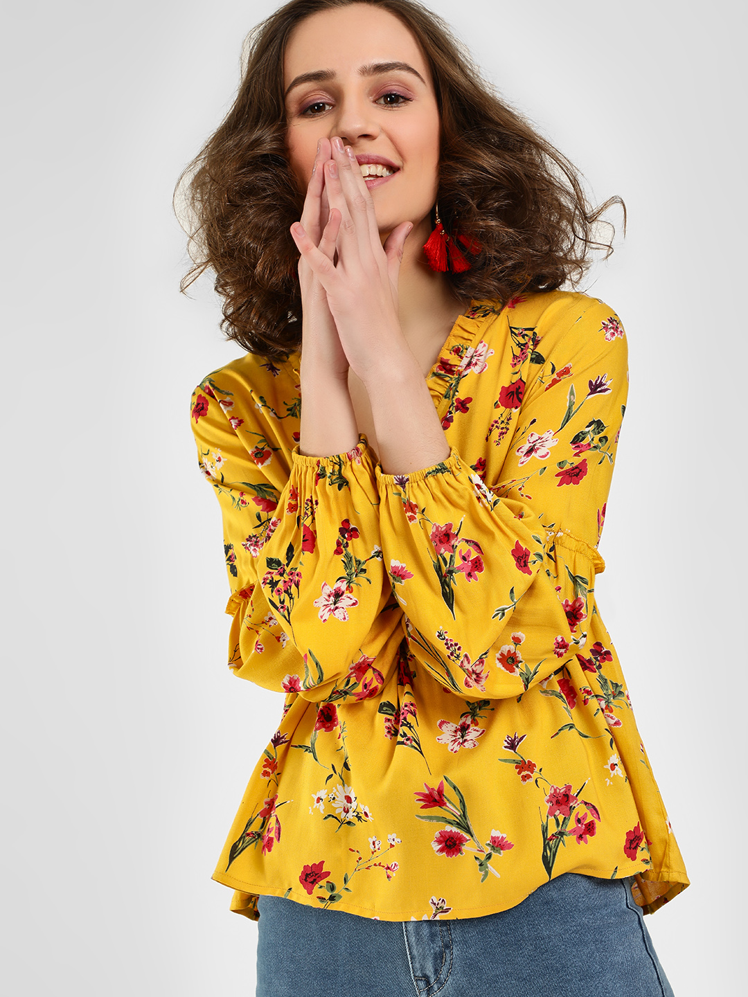 Rena Love Yellow Floral Print Frill Wrap Blouse 1