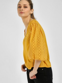 Rena Love Broderie Sleeve Detail Blouse